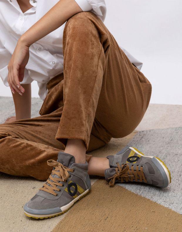 נעלי נשים - Aro - סניקרס גבוהות IDO - אפור   צהוב