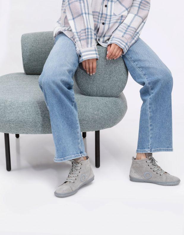 נעלי נשים - Aro - סניקרס זמש גבוהים WILLY - אפור בהיר