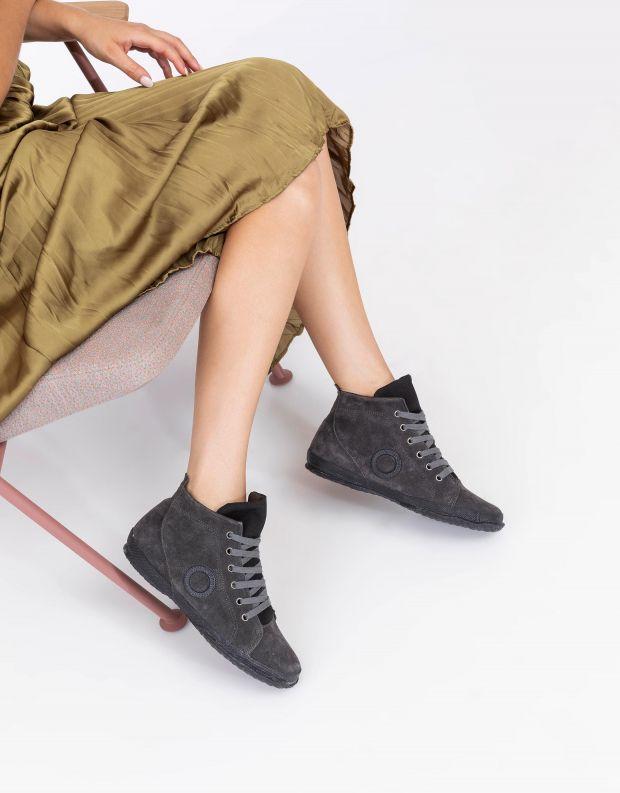 נעלי נשים - Aro - סניקרס זמש גבוהים WILLY - אפור כהה