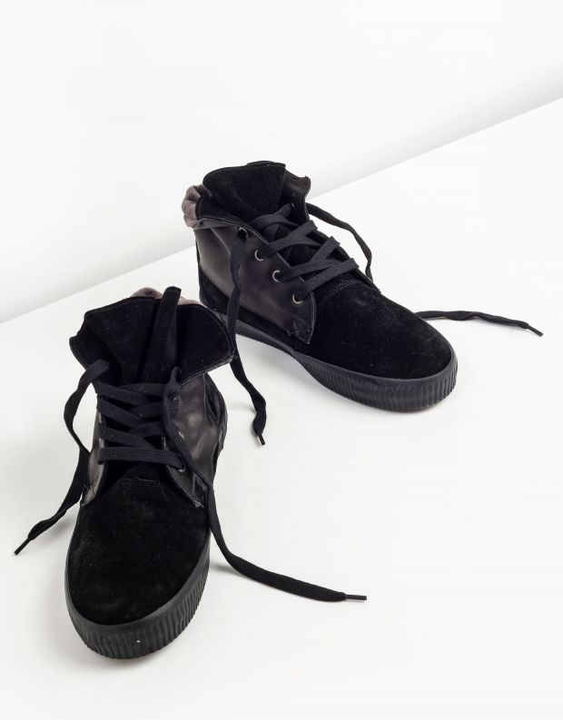 נעלי נשים - Aro - מגפונים עם שרוכים NOELLE - שחור