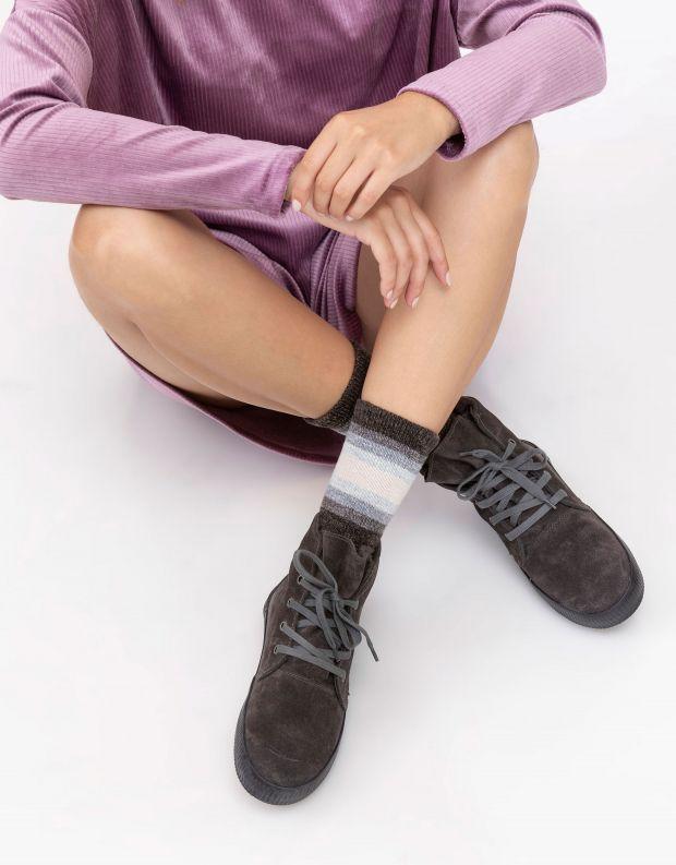 נעלי נשים - Aro - מגפונים עם שרוכים NOELLE - אפור כהה