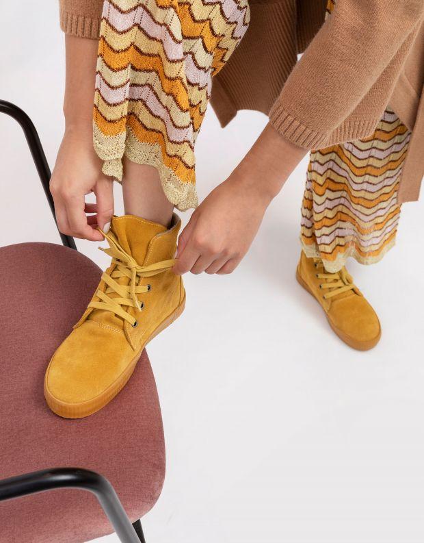 נעלי נשים - Aro - מגפונים עם שרוכים NOELLE - צהוב