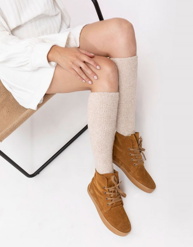 נעלי נשים - Aro - מגפונים עם שרוכים NOELLE - חרדל