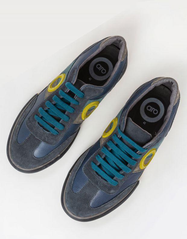 נעלי גברים - Aro - סניקרס עור וזמש POL - כחול