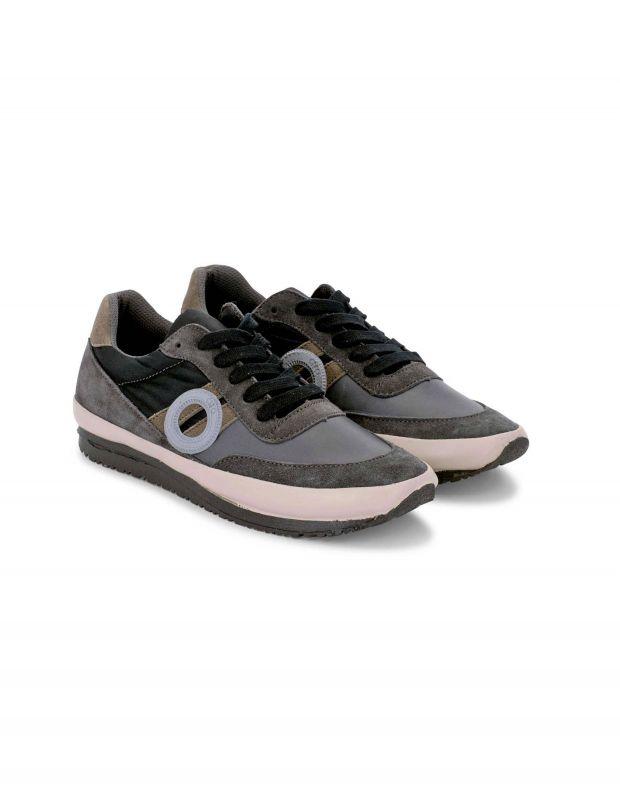 נעלי גברים - Aro - סניקרס עור וזמש JAQ - אפור   שחור