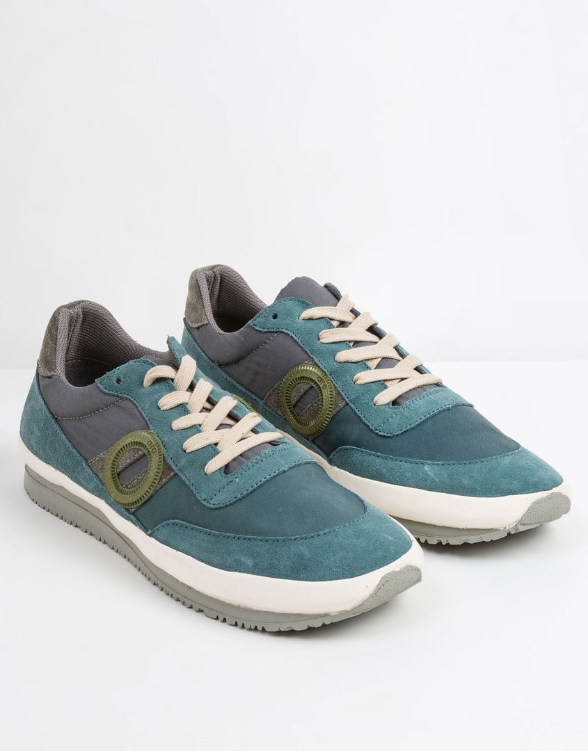 נעלי גברים - Aro - סניקרס עור וזמש JAQ - כחול