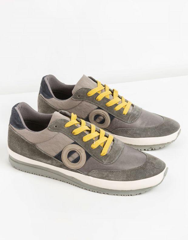 נעלי גברים - Aro - סניקרס עור וזמש JAQ - אפור   צהוב