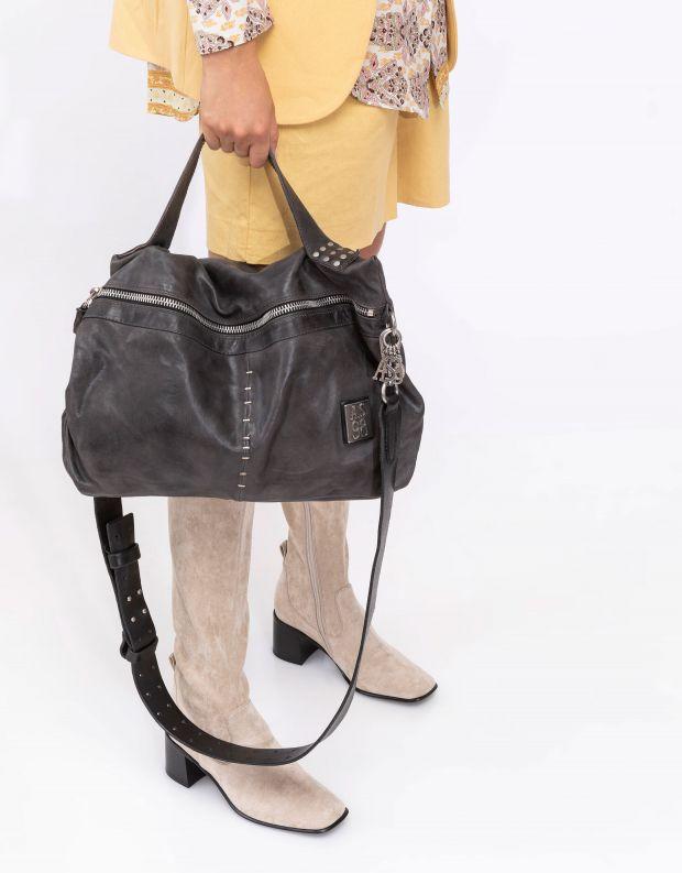 נעלי נשים - A.S. 98 - תיק מלבן רוכסן וסיכות - אפור