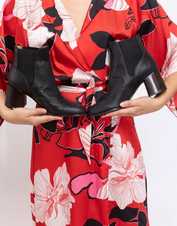 נעלי נשים - Chie Mihara - מגפוני עור עם עקב GINKO - שחור