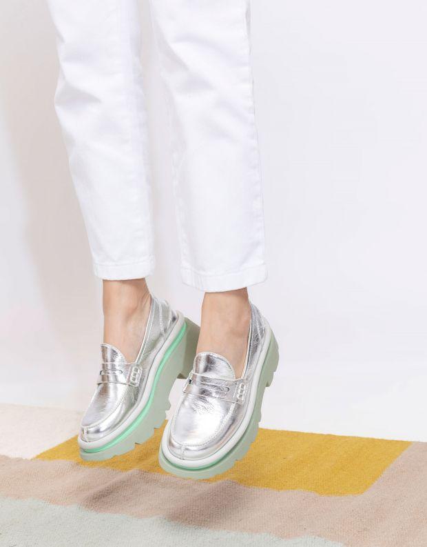 נעלי נשים - 4CCCCEES - מוקסינים פלטפורמה CRUNCH - כסף