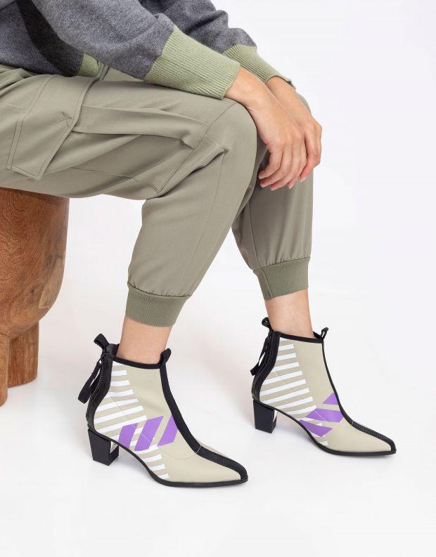 נעלי נשים - United Nude - מגפוני עקב LEV CALLI MID - אפור   סגול
