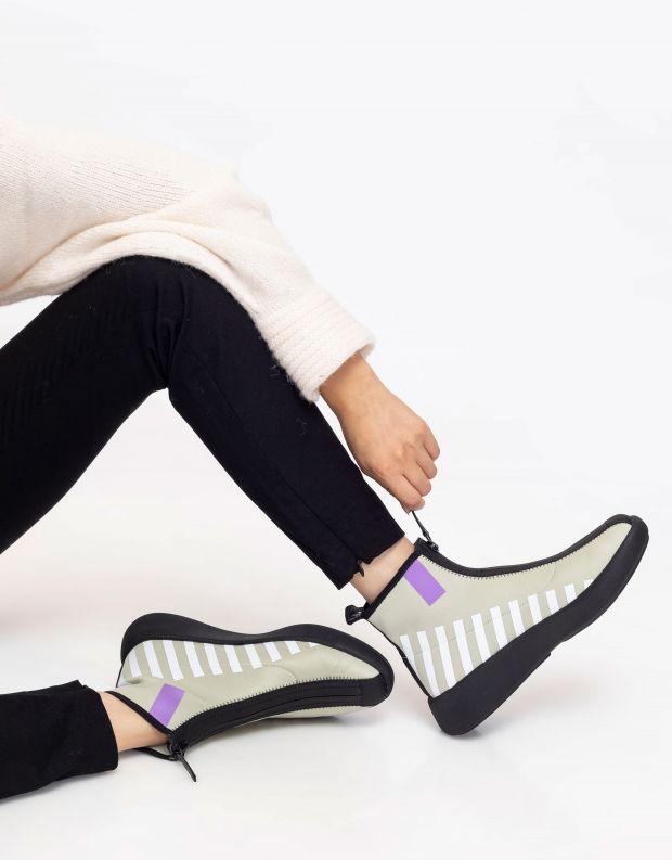 נעלי נשים - United Nude - מגפונים עם רוכסן BO CALLI - אפור   סגול