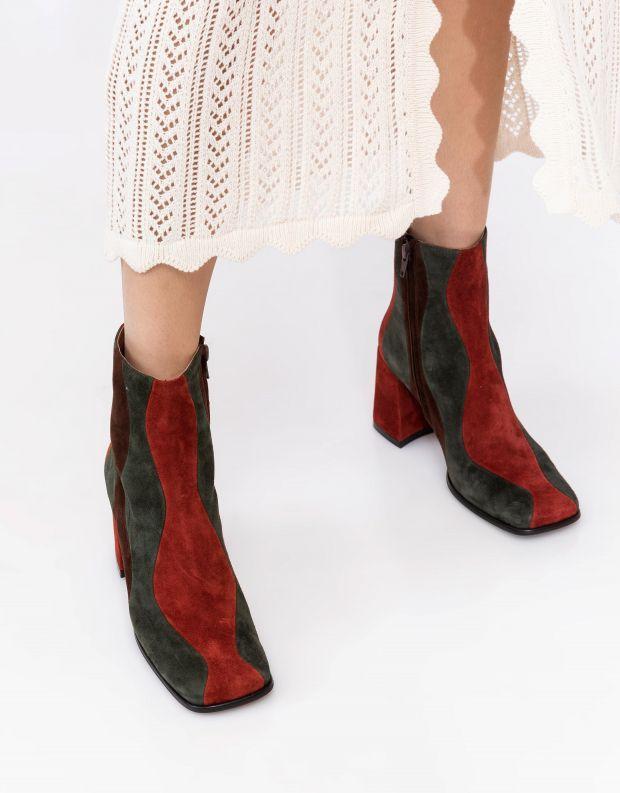 נעלי נשים - Jeffrey Campbell - מגפוני עקב זמש LAVALAMP - ירוק   כתום