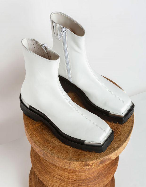 נעלי נשים - Jeffrey Campbell - מגפוני דמוי עור DEVOUT - לבן