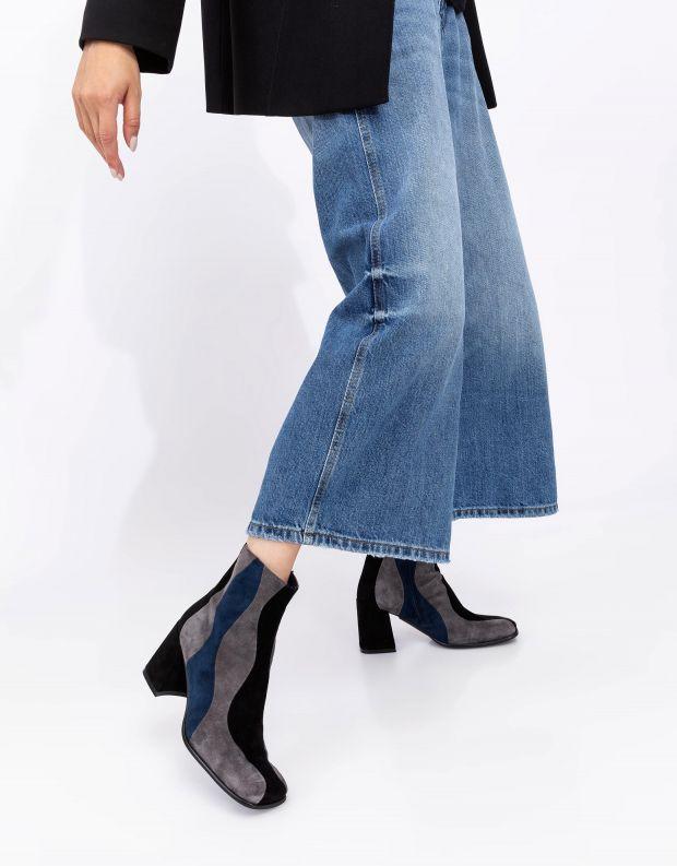 נעלי נשים - Jeffrey Campbell - מגפוני עקב זמש LAVALAMP - שחור אפור