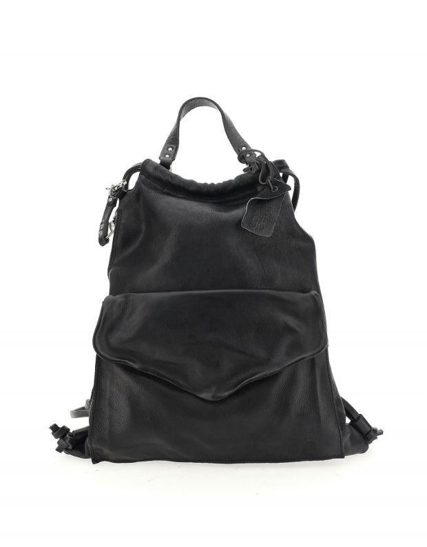 נעלי נשים - A.S. 98 - תיק גב מעור עם כיס מעטפה - שחור