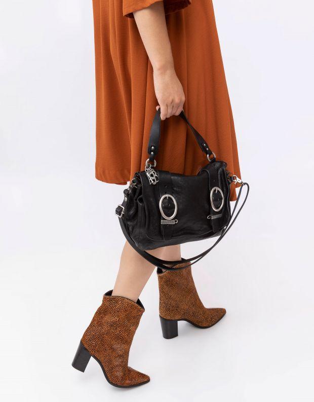 נעלי נשים - A.S. 98 - תיק עור עם אבזמי חגורה - שחור