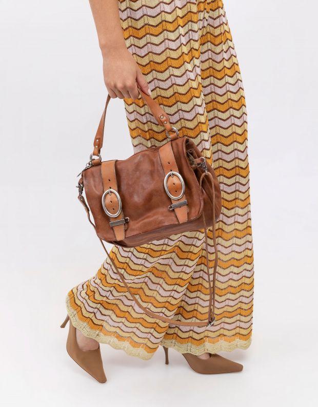 נעלי נשים - A.S. 98 - תיק עור עם אבזמי חגורה - חום