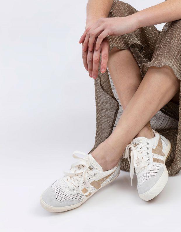 נעלי נשים - Gola - סניקרס BADMINTON WEAVE - לבן   זהב