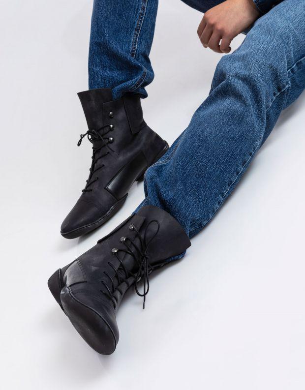 נעלי גברים - Trippen - מגפי עור MIND CUP - שחור