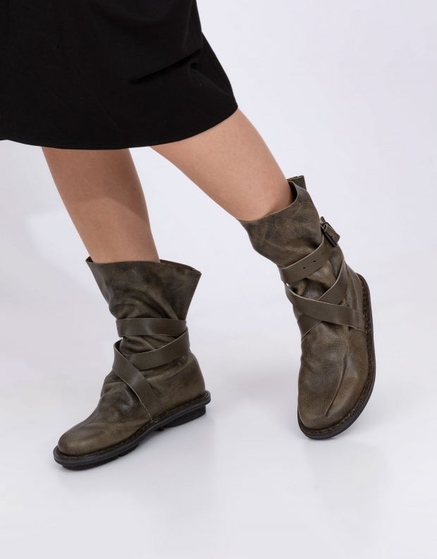 נעלי נשים - Trippen - מגפיים מעור BUNCH CLOSED - חאקי