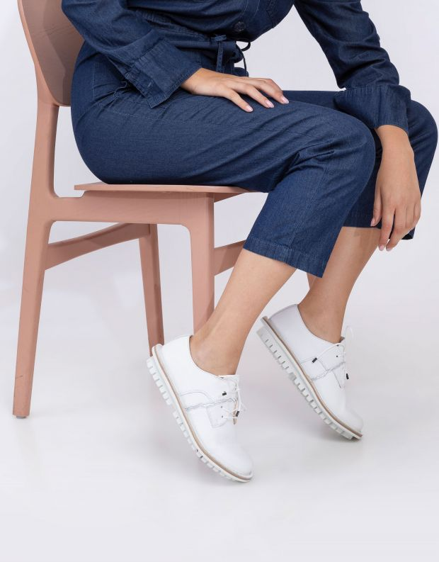 נעלי נשים - Trippen - נעלי עור WALLOP CLOSED - לבן   כסף