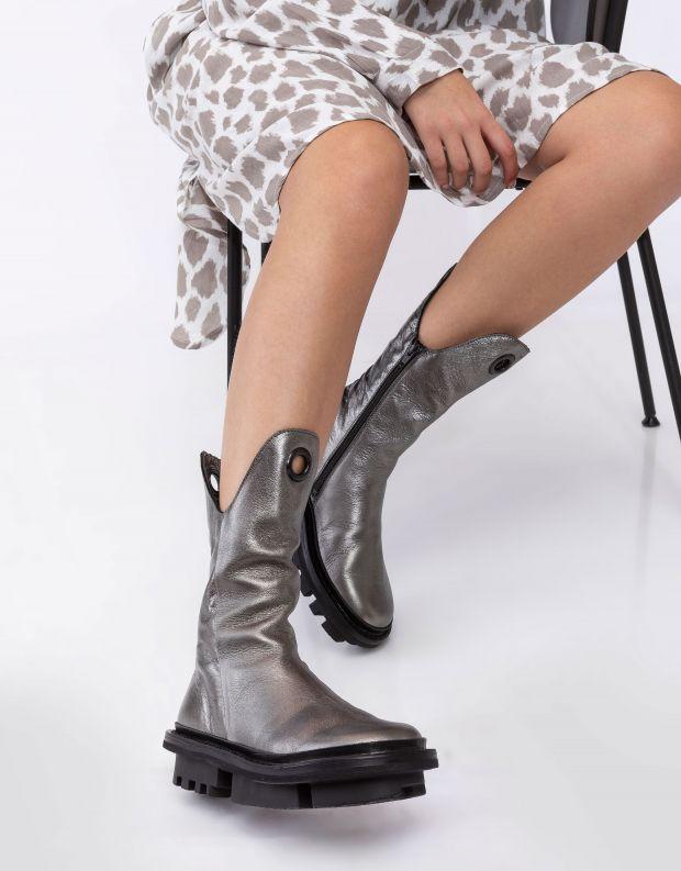 נעלי נשים - Trippen - מגפיים מעור OZZY CLOSED - כסף