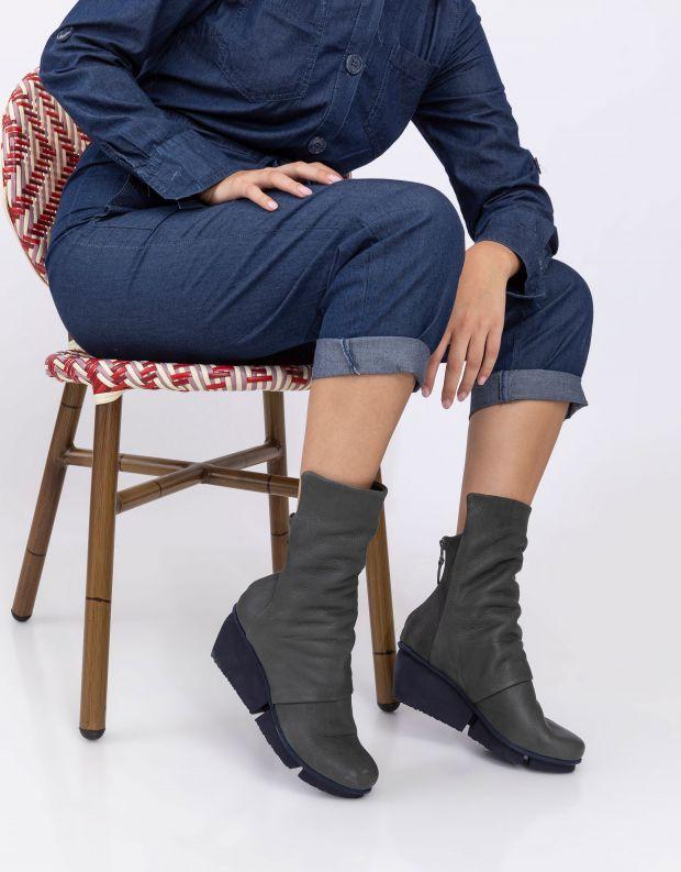 נעלי נשים - Trippen - מגפיים MELLOW SPLITT - אפור כהה
