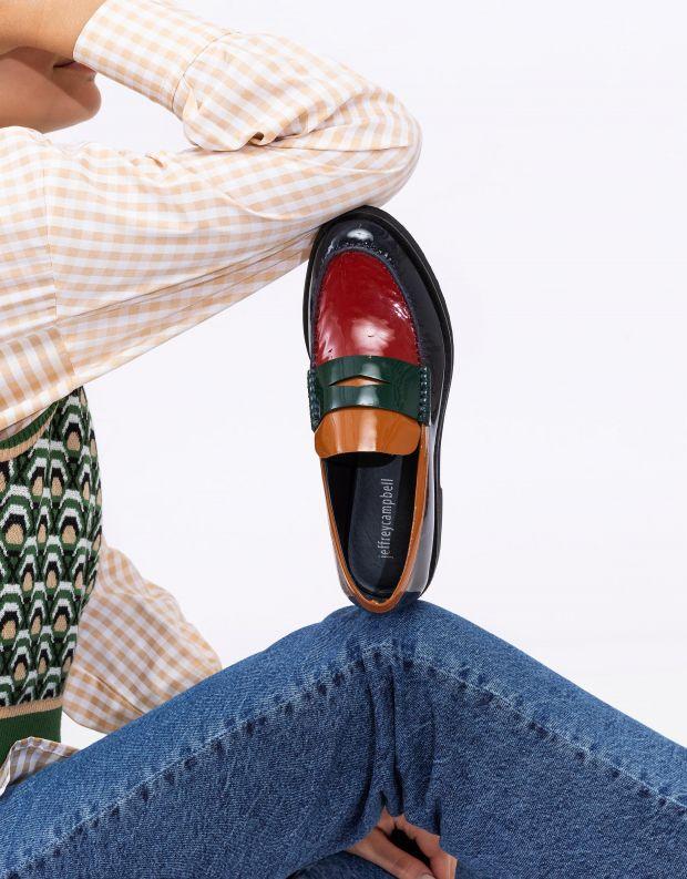 נעלי נשים - Jeffrey Campbell - מוקסינים מבריקים LENNA - כחול   אדום