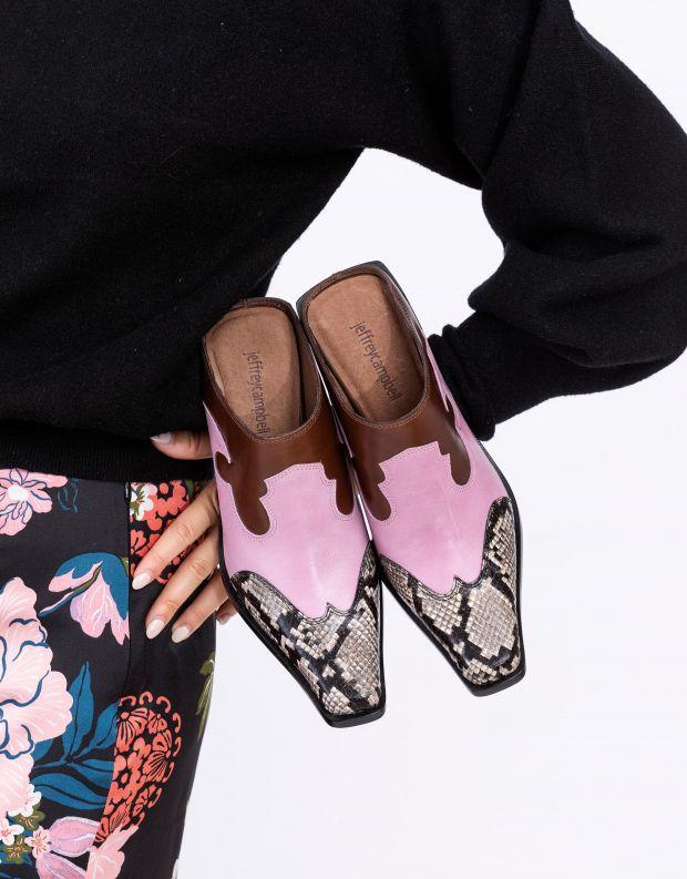 נעלי נשים - Jeffrey Campbell - כפכפי בוקרים עם עקב COWGI - ורוד   חום