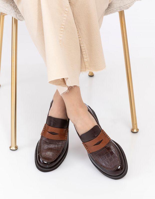 נעלי נשים - Jeffrey Campbell - מוקסינים משולבים LENNA - חום