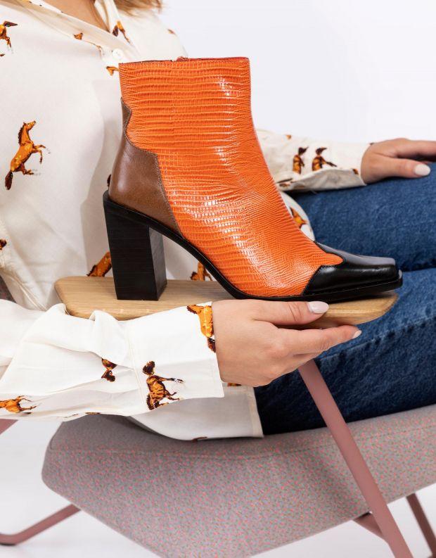 נעלי נשים - Jeffrey Campbell - מגפוני בוקרים עם עקב CALA - כתום   שחור