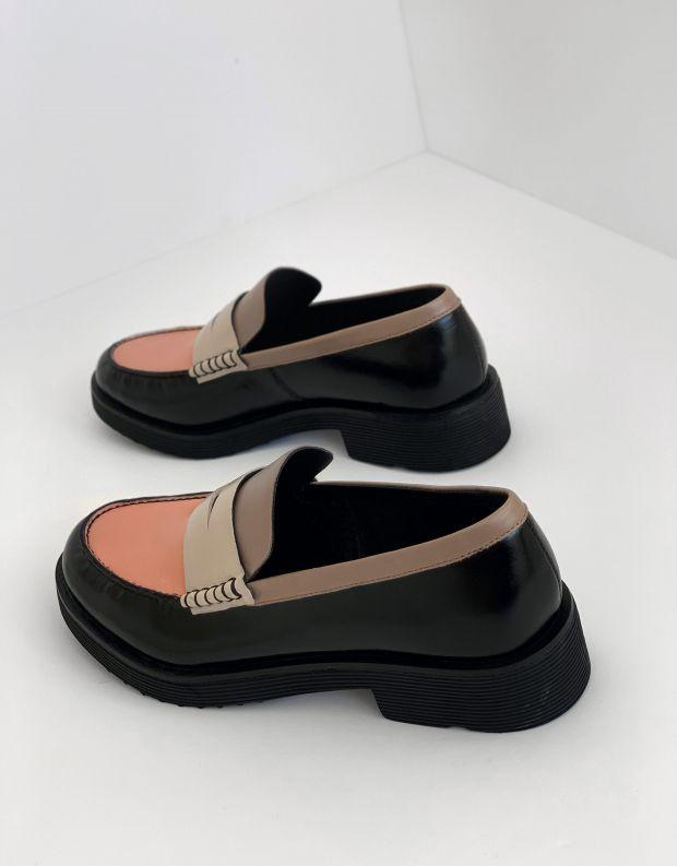 נעלי נשים - Jeffrey Campbell - מוקסינים צבעונים LENNA - שחור אפור