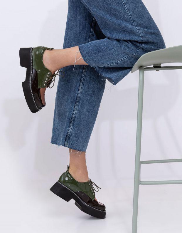 נעלי נשים - Jeffrey Campbell - נעלי שרוכים פלטפורמה BOOK - חום   ירוק