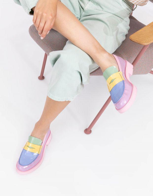נעלי נשים - Jeffrey Campbell - מוקסינים מבריקים LENNA - לילך