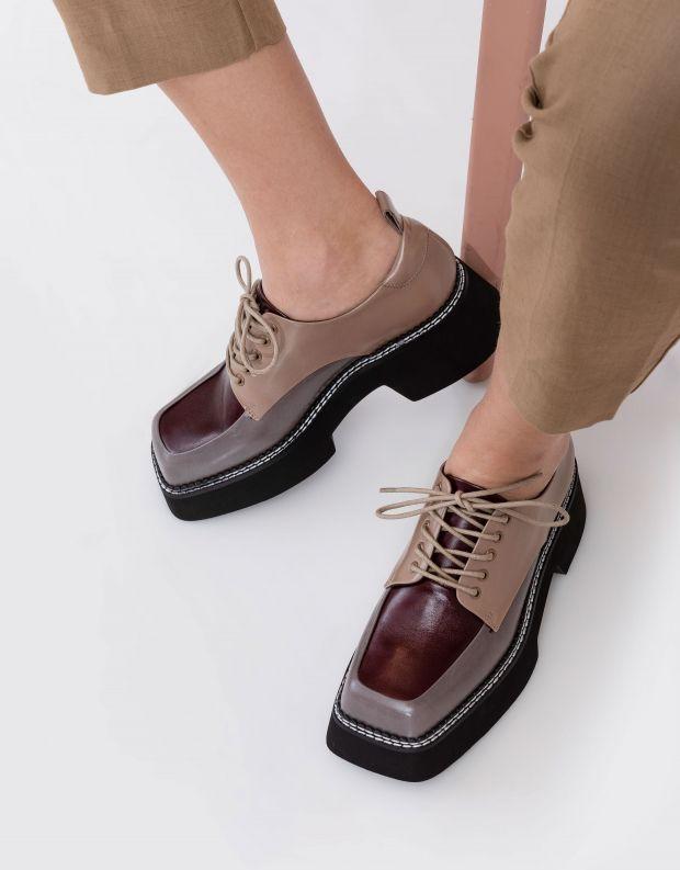 נעלי נשים - Jeffrey Campbell - נעלי שרוכים פלטפורמה BOOK - אפור   בז'