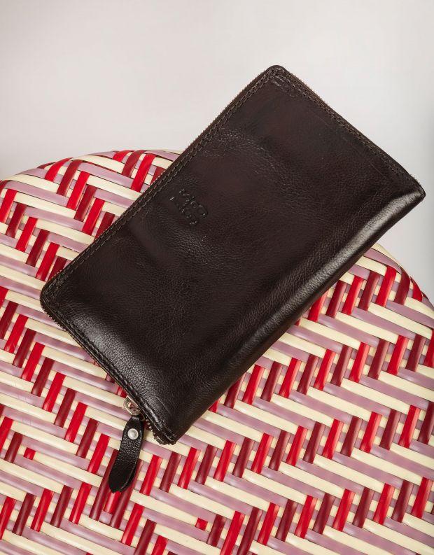 נעלי נשים - A.S. 98 - ארנק עור מלבני גדול - חום כהה