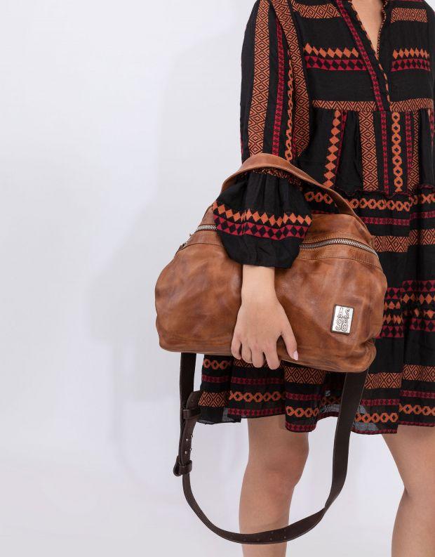 נעלי נשים - A.S. 98 - תיק מלבן רוכסן וסיכות - חום בהיר