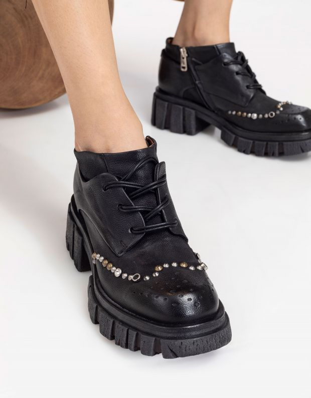 נעלי נשים - A.S. 98 - מגפוני עור עם ניטים HELL - שחור