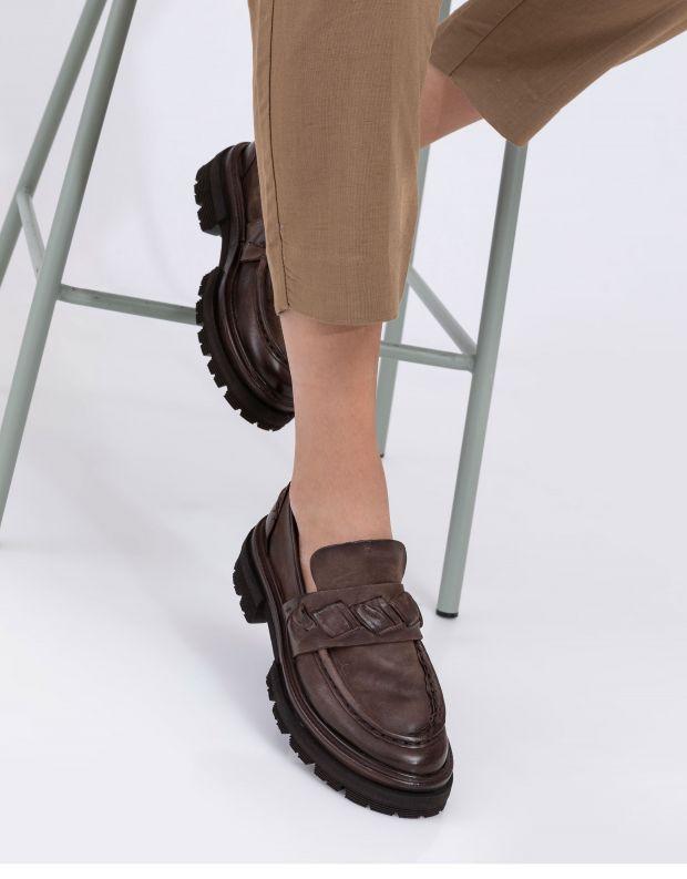 נעלי נשים - A.S. 98 - נעלי מוקסינים HEAVEN - חום כהה