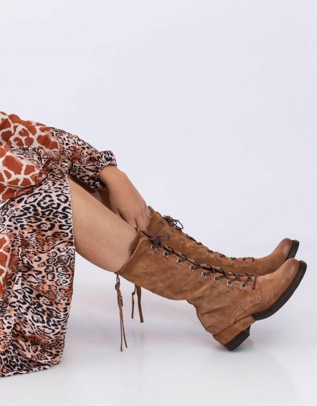 נעלי נשים - A.S. 98 - מגפי עור ולולאות MIRACLE - קאמל