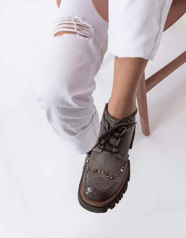 נעלי נשים - A.S. 98 - מגפוני עור עם ניטים HELL - אפור
