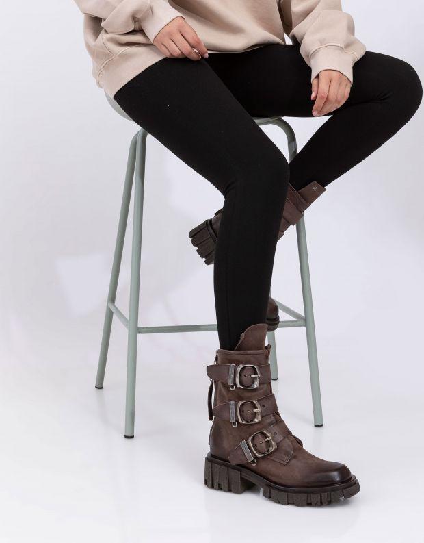 נעלי נשים - A.S. 98 - מגפונים עם אבזמים HELL - חום כהה