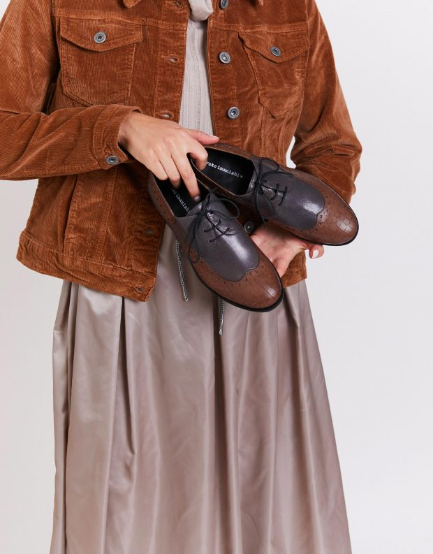 נעלי נשים - Yuko Imanishi - נעלי אוקספורד MARIKA נחש - אפור