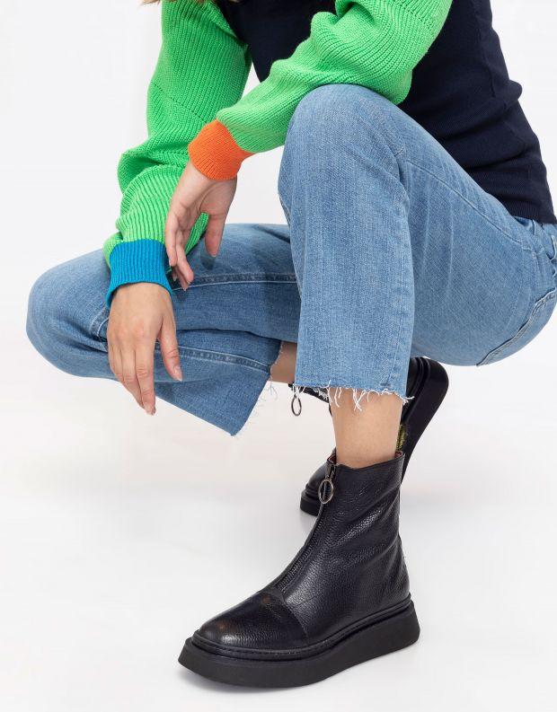 נעלי נשים - Mjus - מגפונים עם רוכסן BASE - שחור