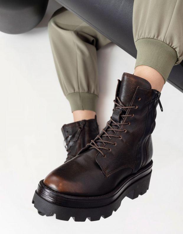 נעלי נשים - Mjus - מגפונים עם שרוכים LATERAL - חום בהיר