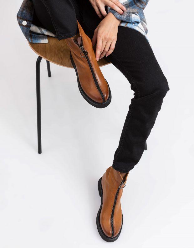נעלי נשים - Mjus - מגפונים עם רוכסן TRIPLE - חום