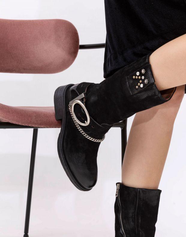 נעלי נשים - A.S. 98 - מגפיים FLOWER שרשרת ואבזם - שחור