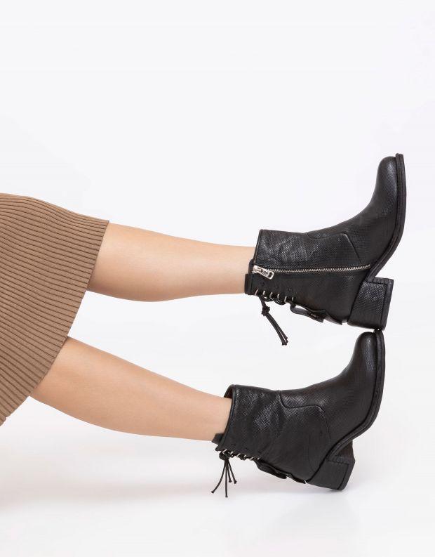 נעלי נשים - A.S. 98 - מגפוני עור עם עקב OPEA - שחור