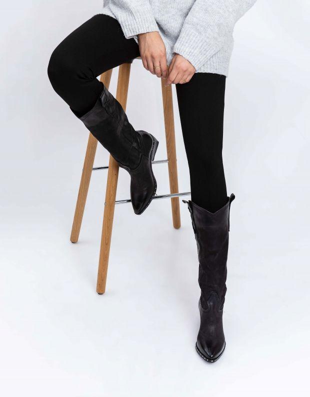 נעלי נשים - A.S. 98 - מגפי עור עם ניטים SATUR - שחור